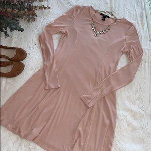 Long-Sleeved Light Pink Forever 21 Shift Dress